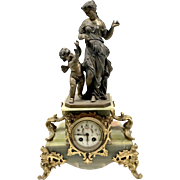 Antique Figural French Spelter & Onyx Mantle Clock