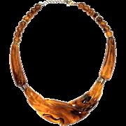 Art Deco Lucite Amber Elegant Beaded Necklace