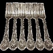 Antique Set Of 6 Versailles By Gorham Sterling Silver Forks