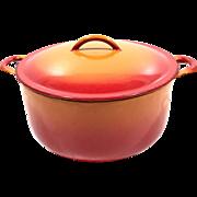 Vintage Descoware Cast Iron Oven Lidded Pot Orange Red