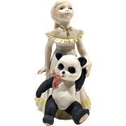 Cybis Goldilocks & Panda Bear Porcelain Figurine