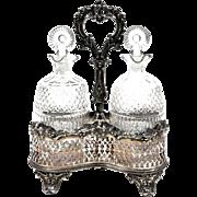 Antique Hallmarked Silver Plated Large Oil & Vinegar Cruet Set
