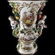 Antique Large MEISSEN Polychromed Ornate Vase