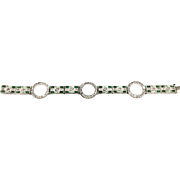Art Deco Emerald & Crystal Rhinestones Silver Toned Elegant Bracelet
