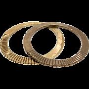 Vintage Art Deco Elegant Brass Bangle Bracelets