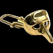 Vintage Rare Nose Mask Brass Keychain
