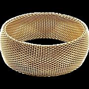 Vintage Wide Mesh Bracelet Semi Rigid Bangle Bracelet Gold Toned