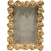 "Gold Tone 3"" X 2"" Ornate Roses Photo Picture Frame"
