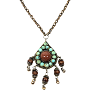 Vintage Handmade Turquoise And Goldstone Necklace/Pendant