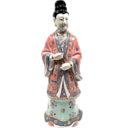 LARGE Asian Hand Painted Porcelain Figure SIGNED