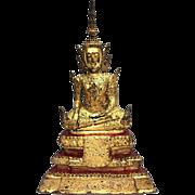 Stunning Antique 1850's Thailand Bronze Gilded Buddha Sculpture