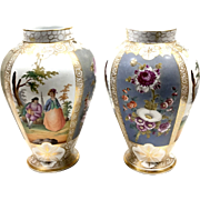 Pair of Antique Hallmarked Hand Painted Floral & Scenic Porcelain Vases