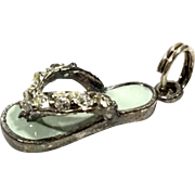 Sterling Silver Lime Green Enameled Crystal Flip Flop Charm