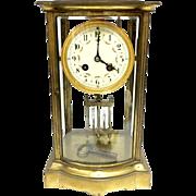 Antique Made In France Beveled Glass Crystal Regulator Clock