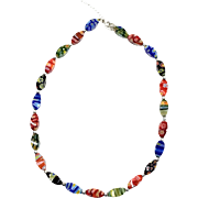 Vintage Millefiori Murano Glass And Sterling Silver Beaded Necklace