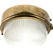 Industrial Brass Flush Mount Ceiling Light