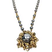 "Antique ""Stanley Hagler N.Y.C"" Gold Tone Pendant Grey Faux Pearl Beaded Necklace"