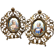 Antique Pair Of Hand Painted Porcelain Plaque On Bronze Frames