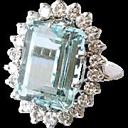 Estate 14k White Gold Aquamarine Emerald Cut Diamond Ring