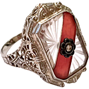 Antique Art Deco 14k White Gold Diamond Filigree Carnelian & Carved Crystal Ring
