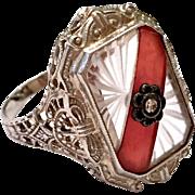 Antique Art Deco 14k White Gold Diamond Filigree Carnelian & Carved Crystal Ring