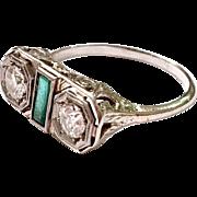 Antique Art Deco Diamond & Emerald 18k White Gold Ring