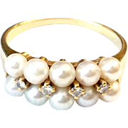 Fine 18K Yellow Gold Double Row Pearl & Diamond MIKIMOTO Ring Size 6.75