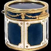 Antique Enameled Bronze French Drum Trinket Box