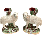 Pair Of William Kent Old Staffordshire Sheep Spill Pottery Vases