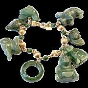 Chinese Jade 14k Gold Charm Beaded Bracelet