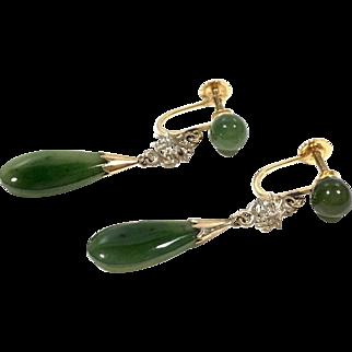 Estate Chinese 14K Gold Jade Teardrop Earrings