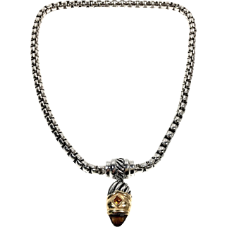 Vintage Estate Silver Tone Amber Rhinestone Stocko Clasp Pendant Necklace