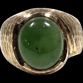 Antique 10K Gold & Sterling Silver Jade Ring Size 6.25
