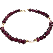 Estate 14K Gold Beaded Pearl & Carved Garnet Bracelet