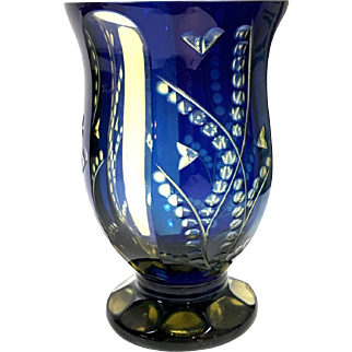 Antique Bohemian Blue & Amber Cut to Clear Crystal Goblet