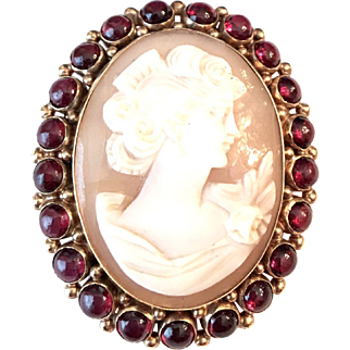 Antique 14k Gold Large Cameo Ruby Pin/Pendant
