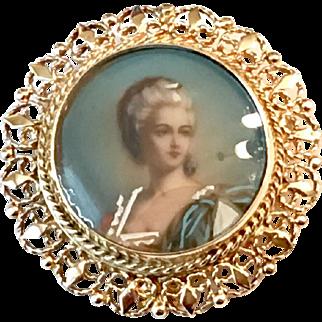 Antique 14k Hand Painted Portrait Pin/Pendant
