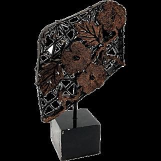 Mid Century Modern Copper On Metal Flower & Leaf Motif Sculpture