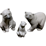 Lot Of 3 Lladro Made In Spain Porcelain Polar Bear Figurines