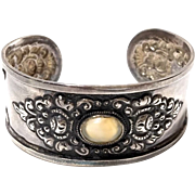 Antique Style Sterling Silver Wide Cuff Bracelet