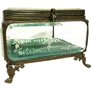 Antique French Gilt Bronze Mounted Etched Crystal Dresser Box