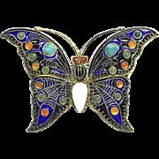 1992 MMA CLEO Sterling Silver Enamel Turquoise Jade Carnelian Butterfly Pin