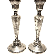 Vintage Ornate Sterling Weighted Pair Of Candlesticks