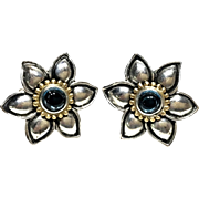 BARBARA BIXBY Sterling Silver & 18K Gold Flower Earrings