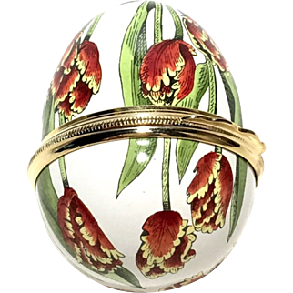 Halcyon Days Enamels Floral Egg Trinket Box