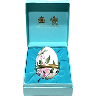 Halcyon Days Enamels Floral Egg Trinket Box Designed by Tiffany & Co