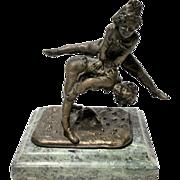 "Antique Alfred Barye Fils Bronze Statue Marble Base ""Leapfrog"""