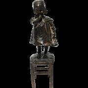 "After Juan Clara Spanish American Art Bronze Statue ""Girl On Chair"""