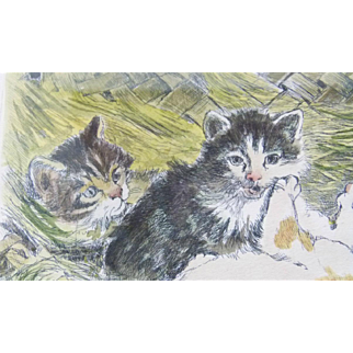 German Artist GRAF Hand-painted Original Etching Lithograph of Kittens - Numbered and Signed