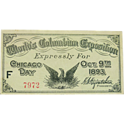 World's Columbia Exposition Pass Ticket for Chicago Day - Oct 9th 1893